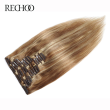 Rechoo Human Hair 7 Pcs 100 Gram Brazilian Straight 16 to 26 Inches Full Head Non-Remy Color 27/613 Clip In Hair Extensions