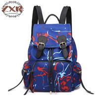 Nylon Material Graffiti Panelled Backpack Korean Style Fashion Laptop Drawstring Multiple Colors Available Women Backpacks