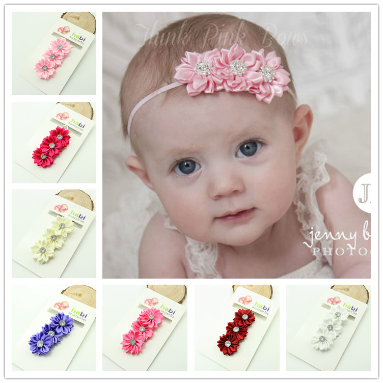 baby girl headband Infant hair newborn   Headwear   tiara headwrap Toddler Ribbon Kids crystal Flower bow turban Hair Accessorries