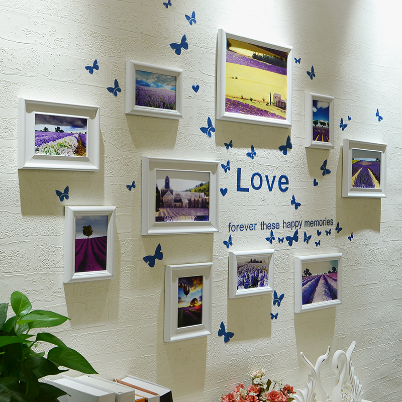 2017 cadres Photo ensemble avec papillon bâton décor à la maison tenture murale Photo cadres combinaison 10 pièces deux Style Photo cadres ensemble