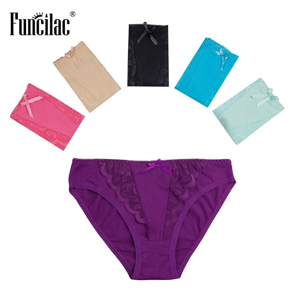 FUNCILAC Underwear Women Solid Lace Underwear Sexy   Panties   Briefs For Women Cotton Underpants Girls   Panties   Lingerie 5Pcs/Lot