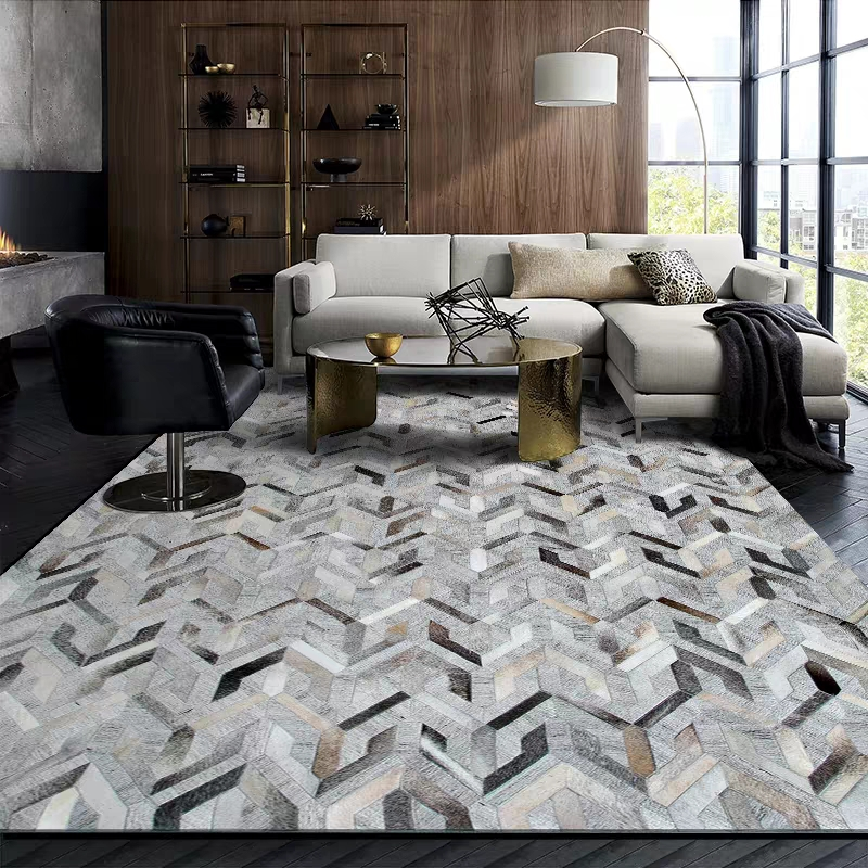 Nordic Style Gray Geometric Handmade Patchwork Living Room Rug, Cowhide Skin Fur Mixed Cotton Linen Decorative Office Floor Mat