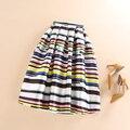 Primavera Verão Outono Moda Tutu vestido de Baile Plissada Saias de Cintura Alta Mulheres Casuais Listrado Imprimir Saia Midi Skater saias faldas