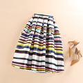 Spring Summer Autumn Fashion Tutu Ball Gown Pleated Skirts Women High Waist Casual Midi Skater Striped Print Skirt saias faldas