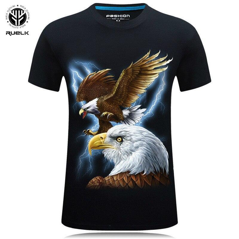 2019 été marque hommes vêtements o-cou à manches courtes Animal T-shirt 3D numérique aigle imprimé T-shirt Homme grande taille 5XL