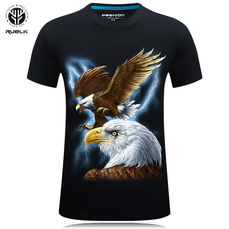 2019 Summer Men's Brand Clothing O-Neck Short Sleeve Animal T-shirt  3D Digital Eagle Printed T Shirt Homme Large Size 5XL