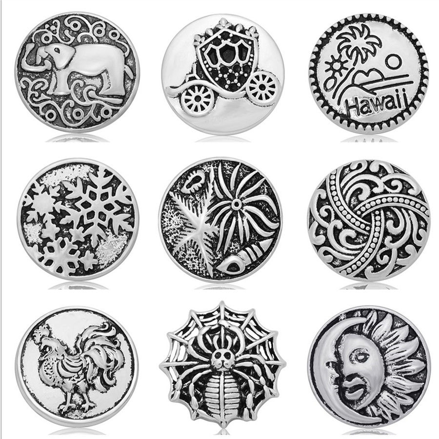 Hot sale Christmas snowflake Sun&Moon 18MM snap buttons elephant life of tree simple snap buttons fit snap necklace wholesale