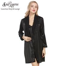 SpaRogerss Brand Robe Gown Set Women 2017 Summer Ladies Faux Silk Dressing  Gown Bathrobe Set Luxurious Sleep Lounge Woman WP306 e85d453d4