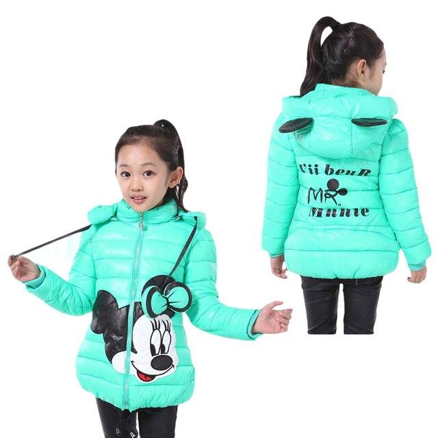 Новые зимние девушки куртка мультфильм пальто хлопка-проложенный одежды хлопка-проложенный одежды детская пальто Детская одежда куртка для девочек