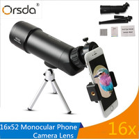 Orsda 16x52 Viajero Monocular Zoom Telescopio Del Teléfono Móvil Teleobjetivo Lente de La Cámara para iOS Android Smartphone Deportes Lentes Lentes