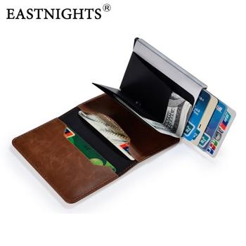 EASTNIGHTS Mini Smart Rfid Wallet Pop UP Men Business Slim Magic billfold Metal ID Credit Card Wallets Male Leather ID holder фото