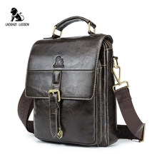 98b272d2a18a LAOSHIZI LUOSEN 2018 новая деловая сумка на плечо из натуральной кожи  мужская сумка-мессенджер на молнии дизайн мужской портфель.
