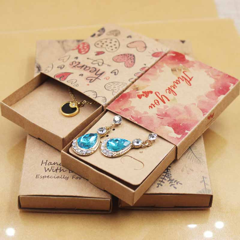 DIYjewelry Necklace Earring Package Box Handmade Love Wedding Gift Box Marbel/dreamcatcher Design Gift.candy Box50pc+50card