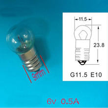 6V 0.5A E10 Small Light Bulb Screw Miniature Bulb Physical Science Electrical Experiment Lamp 50pcs(China)