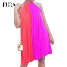 FUDA Summer Chiffon Dress Sexy Sleeveless O-neck Patchwork Loose Mini Red Dres Women Casual Sundress Vestidos Plus Size XXL