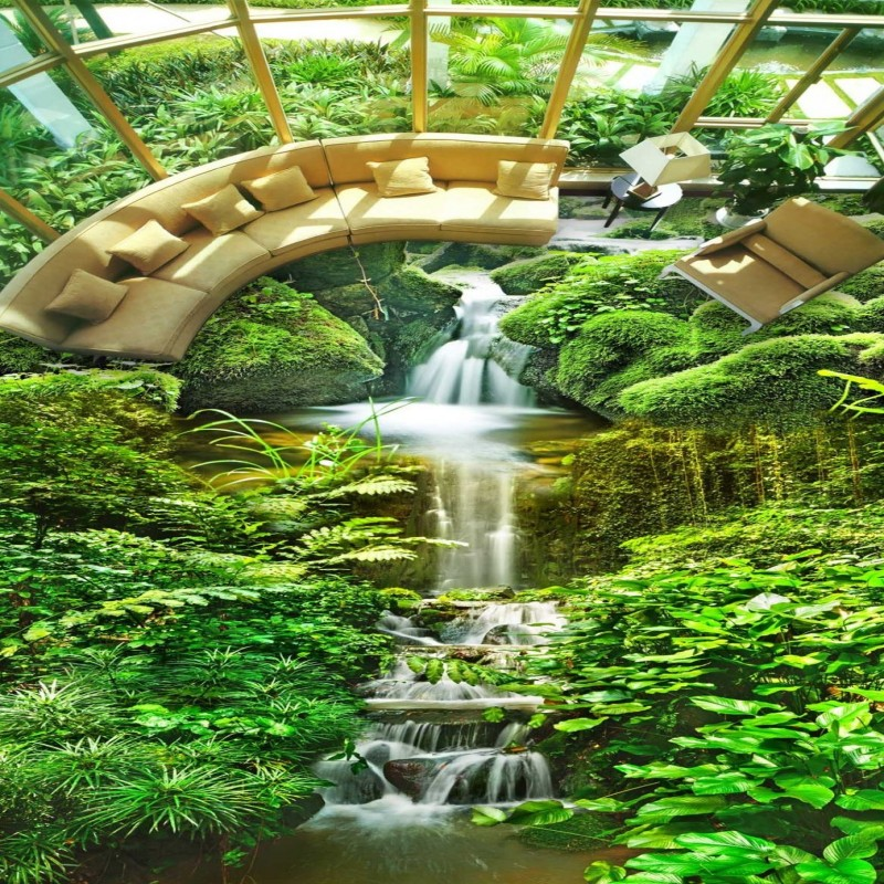 Free Shipping custom Mountain stream natural green scenery floor painting 3D Self-adhesive balcony flooring wallpaper mural stream хатанга 3 sport