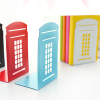 Creative Telephone Booth Metal Bookends Book Shelf Desk Book Stand For Books