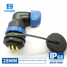 цена на SP28 IP68 Cable Connector 3 5 7 9 12 16 19 24 Pin Waterproof Connector Plug & Socket Male and Female SD28 28mm Elbow Nut