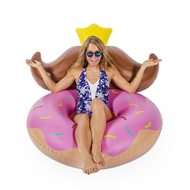 120cm Giant Pink Donut Swimming Ring Beard Water Chair Inflatable Float Air Lounge Mattress Children Adult Pool Party Toys boia 5