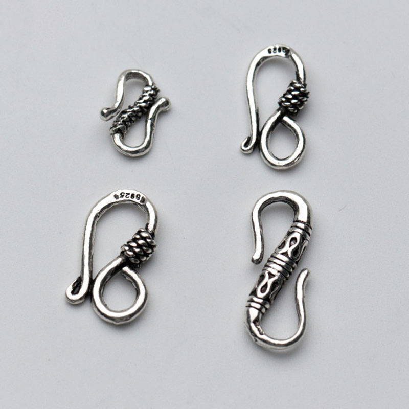 100% 925 Sterling Silver S Connection Clasps High Quality Multi Size Necklace Bracelets Clasp Hooks DIY Jewelry Making Charms