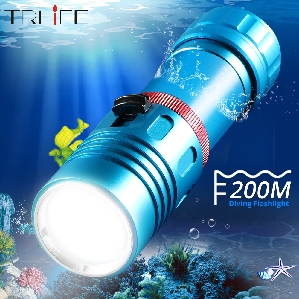 Scuba L2 Diving Flashlight Torch Professional 200M Underwater Divi Camping Lanterna Stepless Dimming By 18650 Or 26650