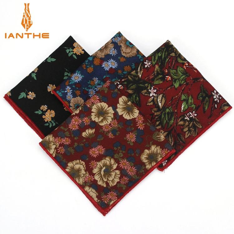 2018 Brand New Men's Fashion Cotton Pocket Squares For Men Flower Square Handkerchief Wedding Classic Suits Pocket Hankies Towel