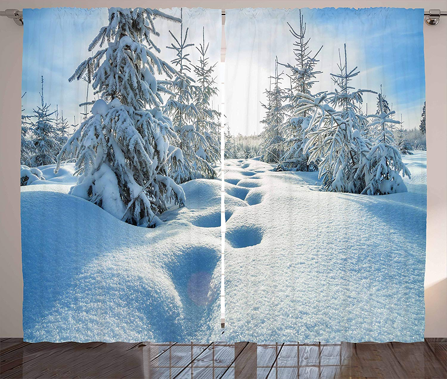 Winter Curtains Winter Landscape With Forest And Blue Sky Frosted Trees Footprints Seasonal Nature Living Room Bedroom Window Curtains Aliexpress
