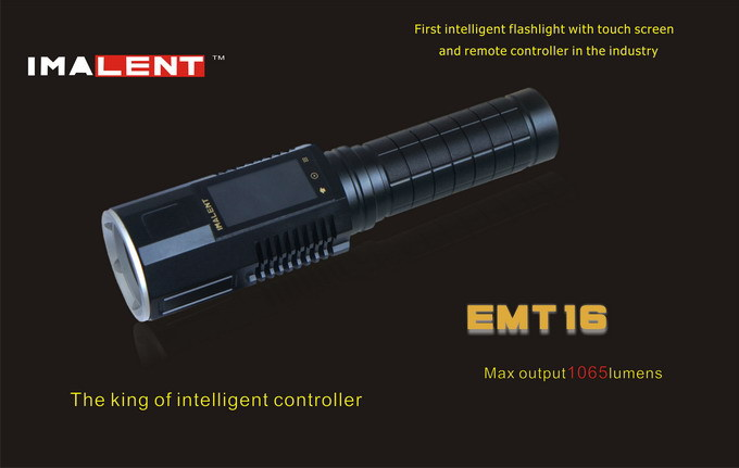 Free shipping Imalent EMT16 CREE XM - L2 LED flashlight with touch screen and remote controller in the industry fast free shipping 72 16 9 hd electric projection screen with remote controller pantalla proyector motorized projector screens