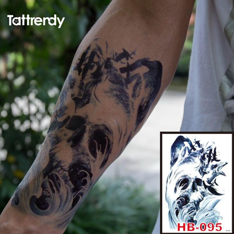 Skull Henna Tattoo: 1pc Black Death Skull Crow Shoulder 3D Waterproof