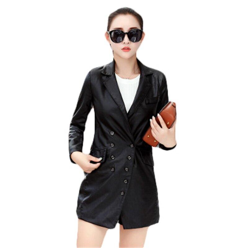 2018 Spring Fall Plus Size Coats Ladies Black PU Leather Jacket Women Long Windbreaker Coat Casual Outerwear Chaqueta Mujer A592
