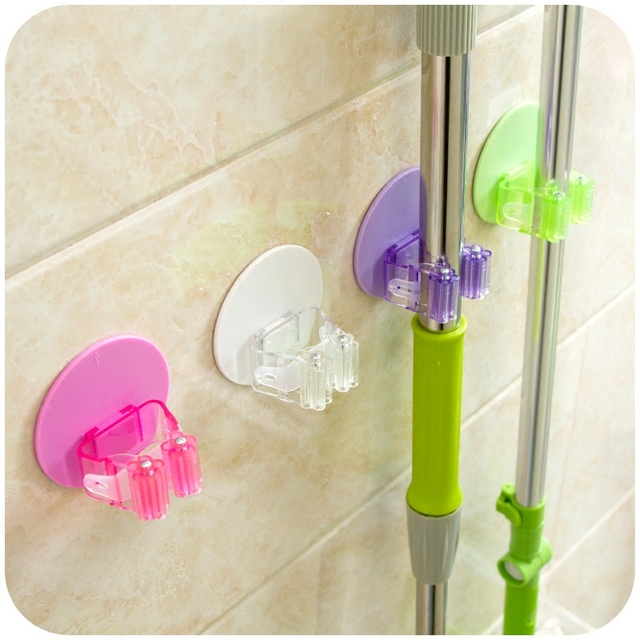 Mop Holder Self Adhesive Mop And Broom Wall Mounted Hanger Storage Holder  Bathroom Tool Rack Holds