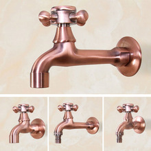 цена на Antique Red Copper Wall Mount Garden Bibcock Washing Machine Faucet Bathroom Mop Faucet Outdoor Faucet Single Cold Tap KD080