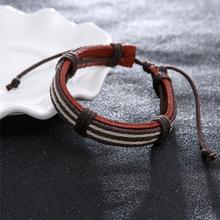 Fashion Accessory Bracelets Five Wax Ropes Handmade Woven Elegant Brown Leather Bracelets & Bangles For Men Male Jewelry(China)