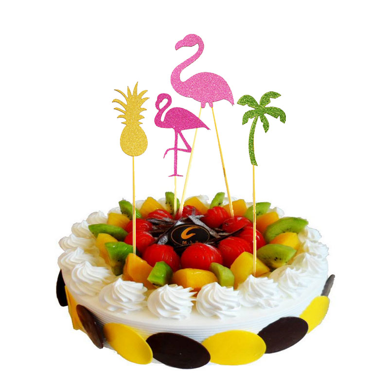 Cupcake Home Decor: Summer Flamingo Cupcake Cake Paper Multicolor Flags