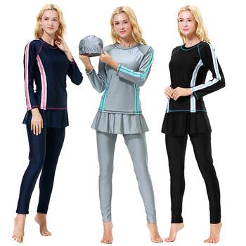 S-XXXL Plus rozmiar kąpielówki muzułmańskie kobiety 2019 nowy solidna damska strój kąpielowy islamski strój kąpielowy plaża islamski strój kąpielowy czarny niebieski tanie i dobre opinie Umeili NYLON BK840 Dobrze pasuje do rozmiaru wybierz swój normalny rozmiar Black Blue G Islamic Swimsuit S M L XL XXL XXXL Swim Wear