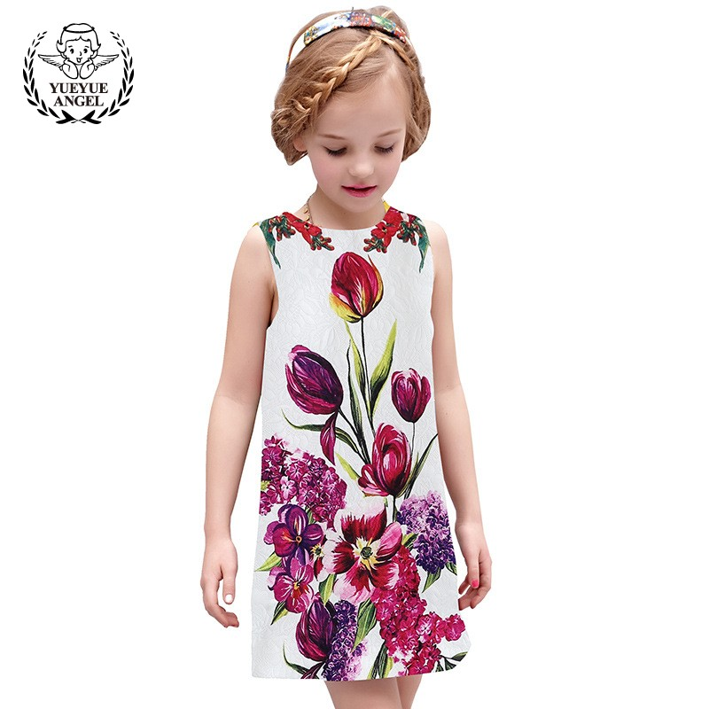 2018 New Sarafan A-Line Summer Hot Floral Children Vest Dresses Princesses Short Casual Printed Cotton Kinderkleding Meisjes 2018 new cotton printed rose dresses