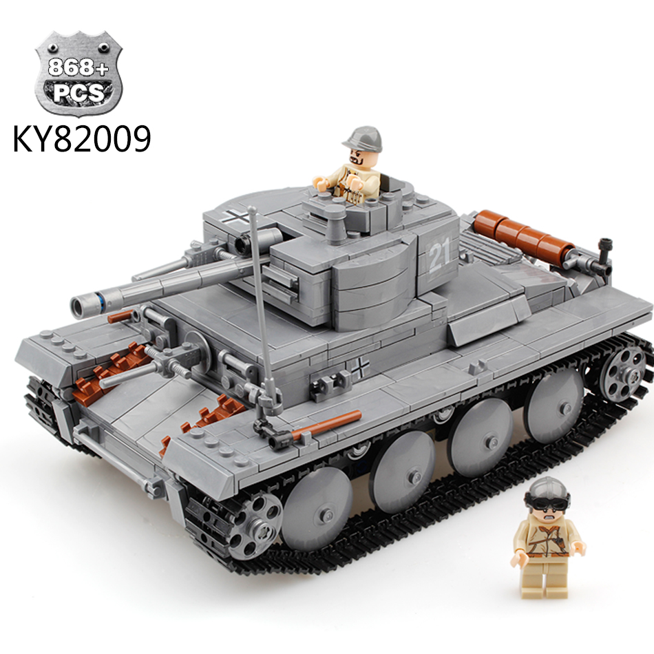 KAZI Military War Tank 3D Model PZKPFW-II Building Blocks Sets Compatible Legoed tank DIY Educational Christmas Toy For Children metal puzzle diy 5pcs set tank model 3d model jigsaw metal scorpio tank tiger tank 3d model toy puzzle educational toys