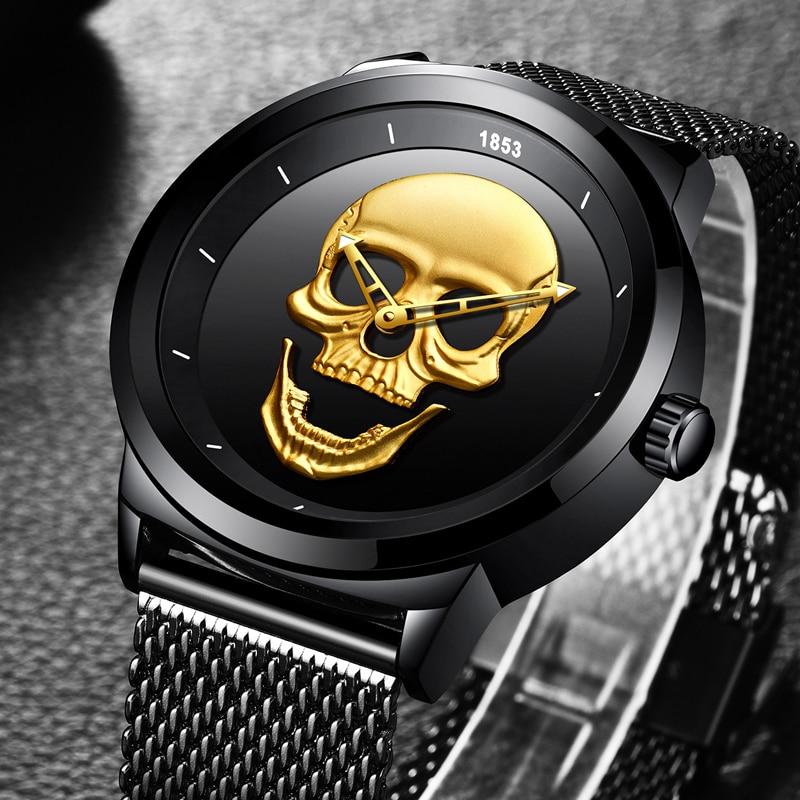 NEW LIGE Men Watch Top Brand Skull Quartz Clock Luxury Business Stainless Steel Mesh Belt Waterproof Watch Relogio Masculino new fashionable men business silver belt gear quartz watch