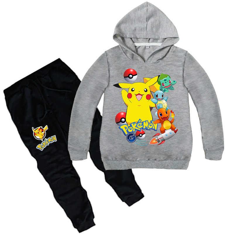 2018 crianças novas dos desenhos animados pikachu pokemon ir Primavera verão de algodão de manga comprida camisola Do Hoodie Camisola do esporte para meninos menina