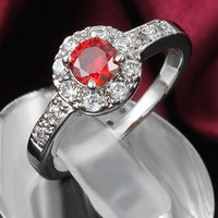 Halo Ring Bridal White Gold Filled Womens Ring Red Round