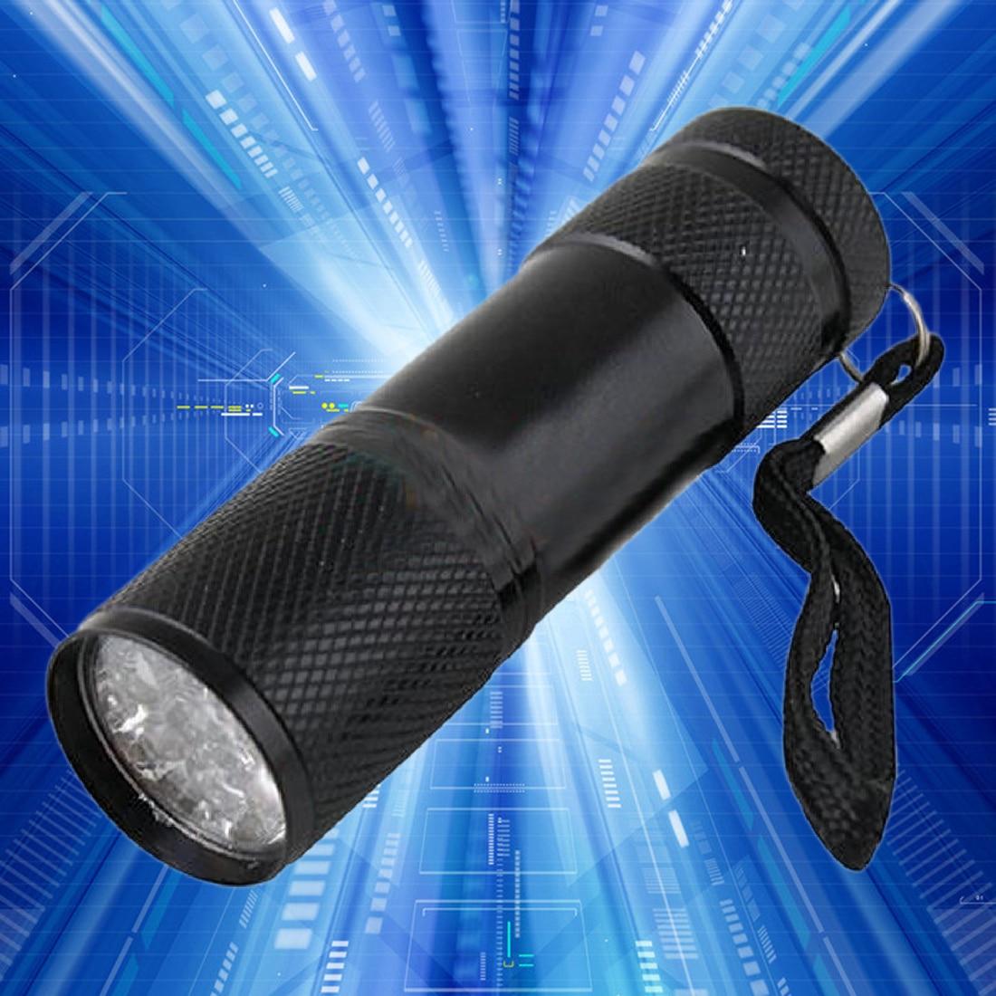 New Camping Portable Aluminum 9Led UV Flashlight Violet Light Flashlights Torch Light Lamp Tactical Flashlight Ultraviolet Lamp