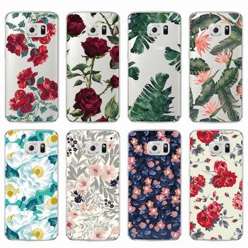 Galaxy S7 S7 edge Case Vintage Floral Flower Soft Clear TPU Phone Cover
