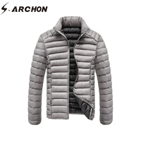S ARCHON Winter Thicken Casual Parka Jacket Men Cotton Lightweight Stand Collar Air Force Jacket Male