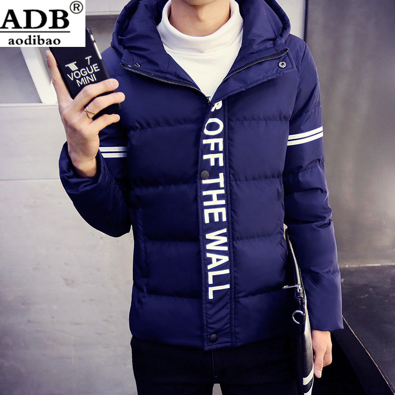 Aodibao 2016 Winter Down Coat Printed Pattern 2xl Causal Italy Design High Quality Zipper Fly Hooded 100% Cotton Black Coats Men