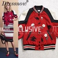 Одежда высшего качества осенняя одежда Элитный бренд вышивка Бейсбол куртка Для женщин Модный пэчворк Половина рукавом красное пальто жен