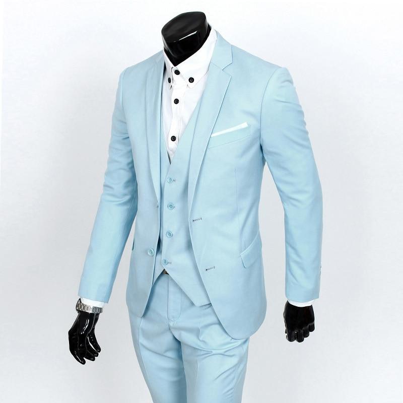2018 baru kedatangan terno masculino Bisnis pakaian kasual pria setelan jas dua potong celana formal wedding dress Slim Blazer