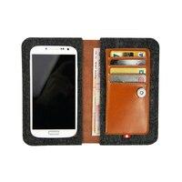 Phổ leather wallet trường hợp điện thoại cho Apple iphone 6 & 7 trường hợp 4.7 inch Đỏ nâu da chính hãng + len cảm thấy lật case/pouch