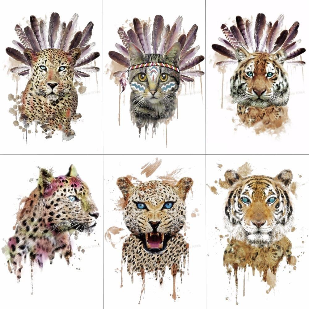 HXMAN Men Arm Sleeve Tattoo Sticker Wolf Tiger Cheetah Temporary Tattoos Women Fake Hand Tattoos Body Art 21X15cm TH-091