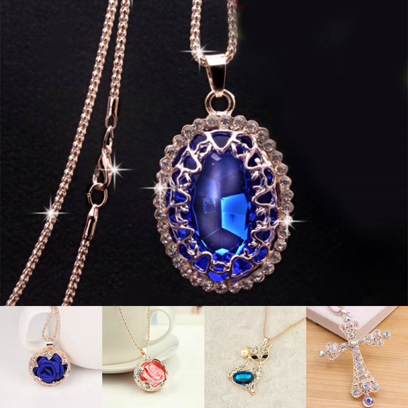 Fashion Women Sweater Chain Necklace & Pendant Rhinestones Crystal Rose Flower Statement Necklace Jewelry Clothing Accessories