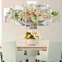 5 Pcs Rose Lily Flowers Wall Pictures For Living Room Modular Paintings Wall Art Home Decor Cuadros Poster Cuadros (No Frame)